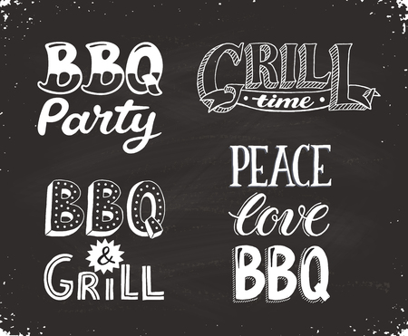 Hand drawn lettering about BBQ and grill isolated on blackboard. Vector illustration. Barbecue time decorative text for poster design. Ilustração