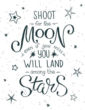 Schiet voor de maanposter Handgetekende inspirerende offerte over maan en sterren. Vector illustratie belettering.