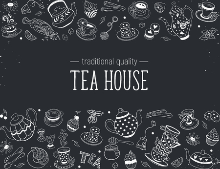 Horizontal border from tea time doodle elements. Hand drawn tea vector frame. Teapots, cups, cupcakes and sweets on chalkboard. Design elements.