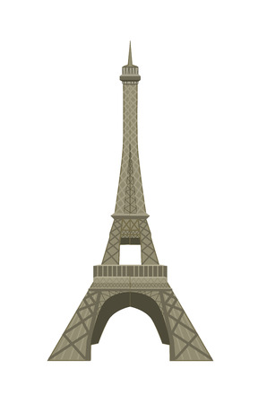 Eiffel Tower in flat style isolated on white background.