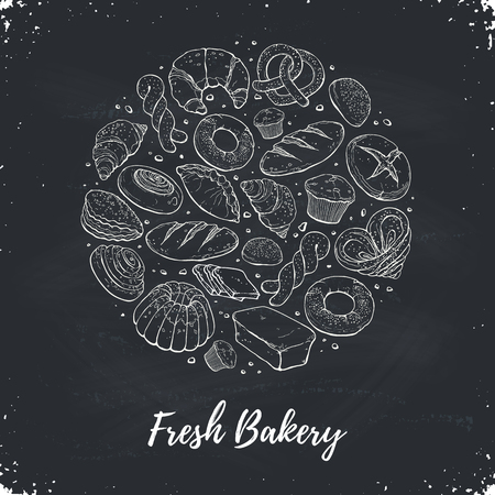 Circle shape composition from hand drawn bread in sketch style. Vector illustration for bakery shops on blackboard. Fresh bread poster concept. Illustration