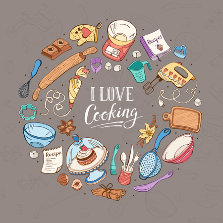 I love cooking poster.  Baking tools in circle shape. Poster with  hand drawn kitchen utensils. Ilustração