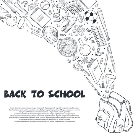 Hand drawn school objects flying out of backpack composition. Vector illustration of school accessories isolated on white background. Back to school.