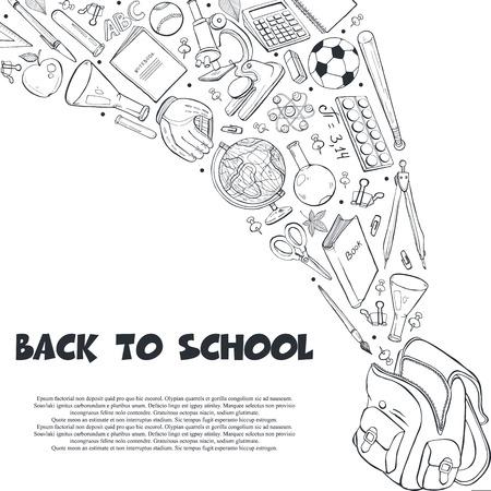 Oggetti scolastici disegnati a mano che volano fuori dalla composizione nello zaino. Illustrazione vettoriale di accessori per la scuola isolati su sfondo bianco. Di nuovo a scuola.