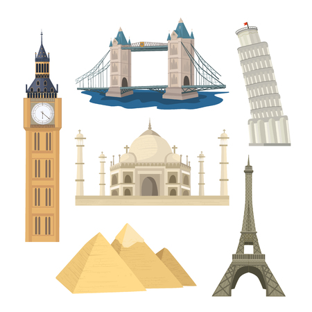 Set of famous world landmarks in flat style. Historical monuments and buidlings. Pisa and Eiffel Towers, Taj Mahal, Egypt pyramids, Big Ben and Harbour Bridge isolated on white background. Illustration