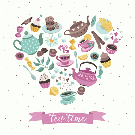 Tea time poster concept. Tea party card design. Hand drawn doodle illustration with teapots, cups and sweets in heart shape composition.