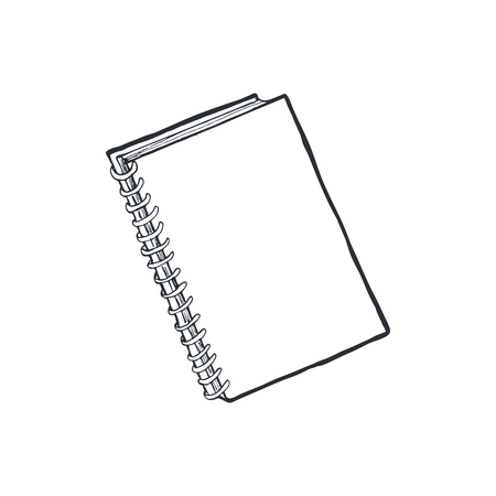 Hand drawn notebook isolated on white background. Copybook sketch vector illustration.