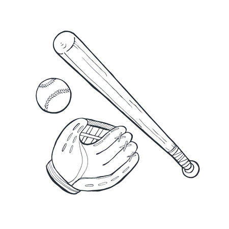 Hand drawn baseball accessories isolated on white background. Baseball glove, bat and ball sketch vector illustration.