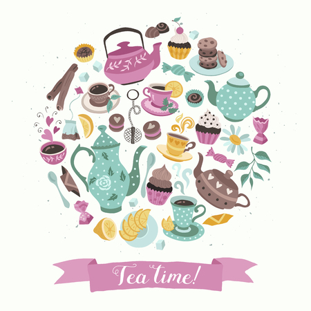 Tea time poster concept. Tea party card design. Hand drawn doodle illustration with teapots, cups and sweets in circle shape composition.