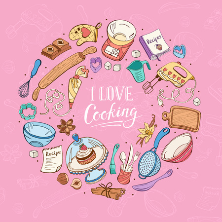 I love cooking poster.  Baking tools in circle shape. Poster with  hand drawn kitchen utensils. Illustration