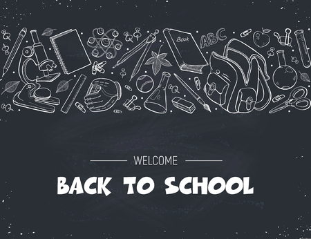Hand drawn school objects in horisontal composition. Vector illustration of school accessories hand drawn on blackboard. Back to school. Illustration