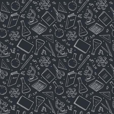 School doodle background. Vector seamless pattern from school elements hand drawn on blackboard. Back to school backdrop in sketch style. Illustration