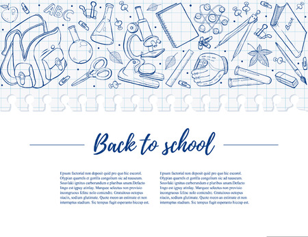 Hand drawn school objects in horisontal composition. Vector illustration of school accessories isolated on white background. Back to school poster on notepad squared sheet. Illustration