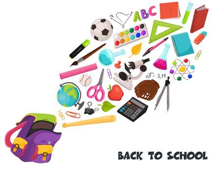 Hand getrokken schoolvoorwerpen die uit rugzaksamenstelling vliegen. Vectorillustratie van schoolaccessoires geïsoleerd op een witte achtergrond. Terug naar school.