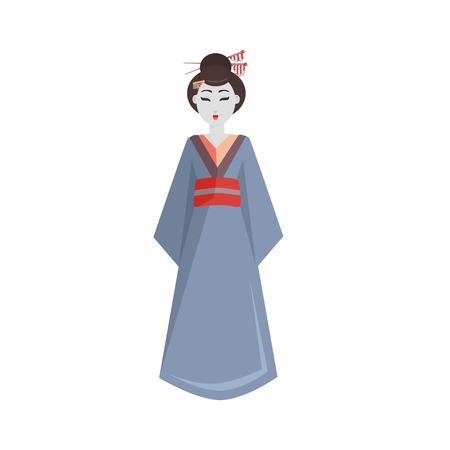 Japan culture symbol vector illustration.  Colorful Japanese geisha in kimono icon isolated on white background. Ilustrace