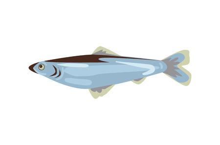 Fish symbol vector illustration.  Herring icon isolated on white background. Ilustração
