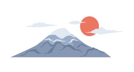 Japan culture symbol vector illustration.  Colorful Japanese Fujiyama icon isolated on white background.