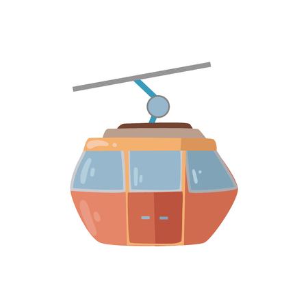 Ski elevator cabin symbol vector illustration.  Gondola icon isolated on white background.