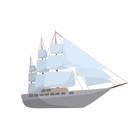 Yacht symbol vector illustration.  Big ship icon isolated on white background.