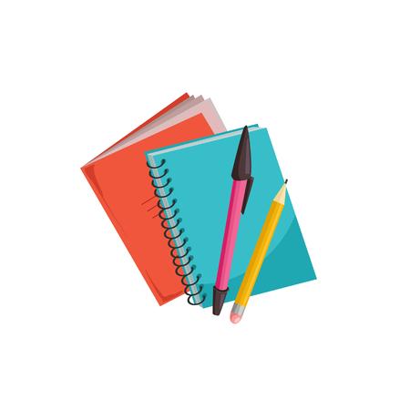 Cahiers dessinés à la main avec des stylos isolés sur fond blanc. Illustration vectorielle de cahier.