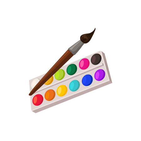 Hand drawn paints palette and brush isolated on white background. Vector illustration.  イラスト・ベクター素材