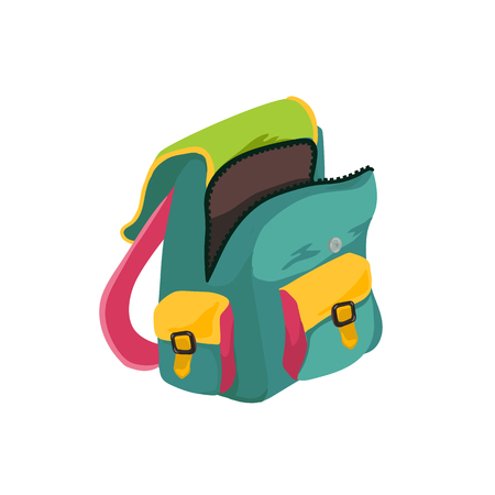 Flat school backpack isolated on white background. Vector illustration.