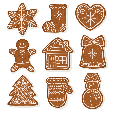 Christmas gingerbread vector illustration isolated on white background. Ginger bread man, bell, house, snowman etc. Vector Illustration