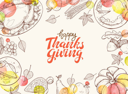 Happy thanksgiving day greeting card template. Thanksgiving poster with roasted turkey, pumpkin pie and aconrs sketches. Horizontal composition with text.