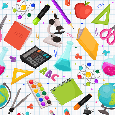 School doodle background. Vector seamless pattern from school elements hand drawn on squared background. Back to school backdrop in sketch style.