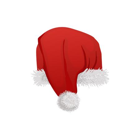 Red Santa hat illustration isolated on white background.