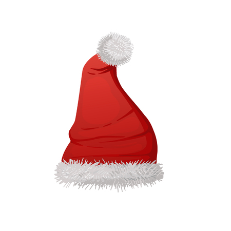 Red Santa hat vector illustration isolated on white background.