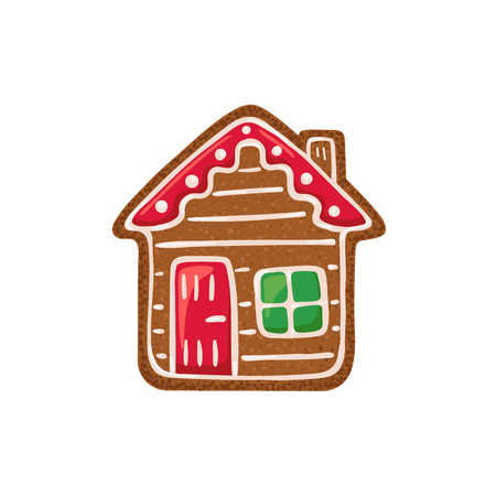 Christmas ginger bread vector illustration isolated on white background. Gingerbread house.