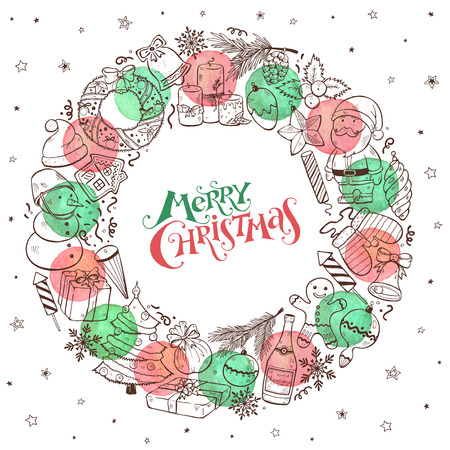 Hand drawn Merry Christmas doodle objects in circle composition with watercolor circles.illustration on white background. Happy holidays. Illusztráció