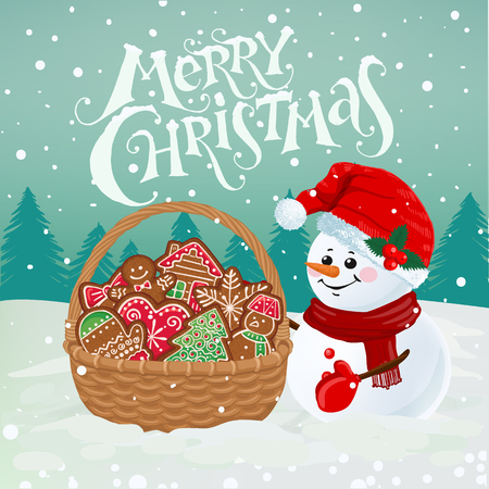 Funny snowman with basket full of gingerbread on snowy background. Merry Christmas greeting card with holiday lettering. Vector illustration.