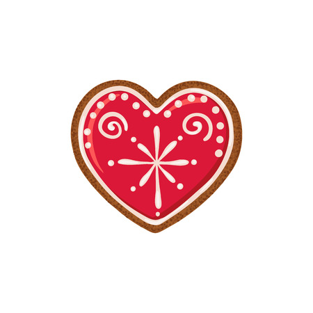 Christmas ginger bread vector illustration isolated on white background. Gingerbread heart.  イラスト・ベクター素材