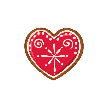 Christmas ginger bread vector illustration isolated on white background. Gingerbread heart. Illustration