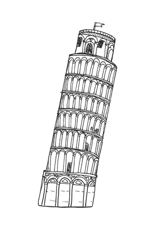 Pisa Tower in flat style isolated on white background.
