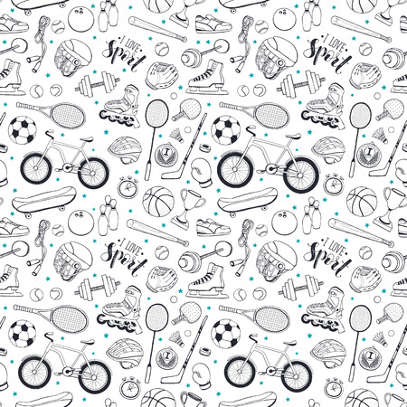 Seamless pattern from sport equipment in doodle style. illustration. Hand drawn sport accessories on white background.