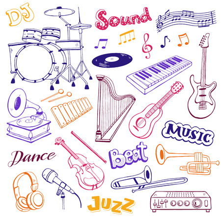 Hand drawn musical instruments isolated on white background. Doodle music elements vector illustration. Musical equipments in sketch style.