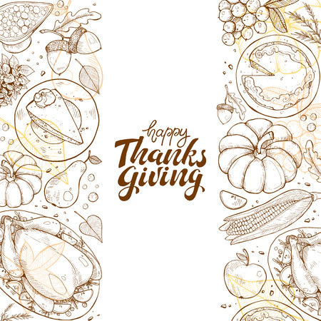 Happy thanksgiving day greeting card template. Illustration