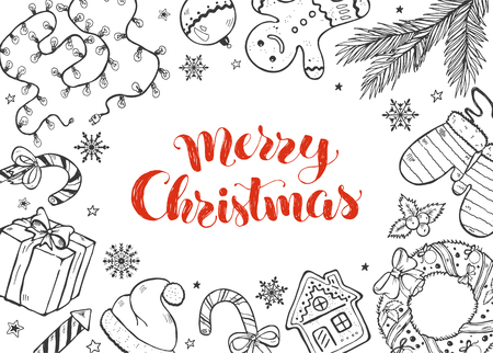 Merry Christmas doodle composition. Vector illustration of xmas traditional symbols. Gingerbread, Christmas tree, garland and wreath design elements. Holidays sketches isolated on white background.