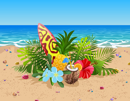 Exotic fruits, flowers and leaves composition. Colorful surfboard, coconut cocktail and pineapple on sand beach and ocean background. Summer time vector illustration.