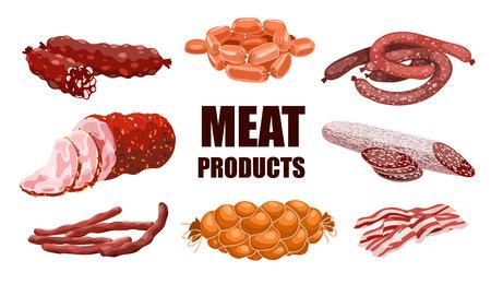 Éléments de conception de viande et de saucisses. Ensemble de produits carnés frais et préparés. Saucisses de boeuf, porc, chorizo et salami. Illustration vectorielle réaliste isolée sur fond blanc.