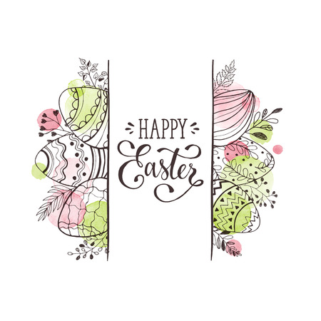 Happy Easter greeting card with watercolor spots on background. Easter eggs composition hand drawn black on white. Decorative horizontal frame from eggs with leaves and calligraphic wording. Illustration