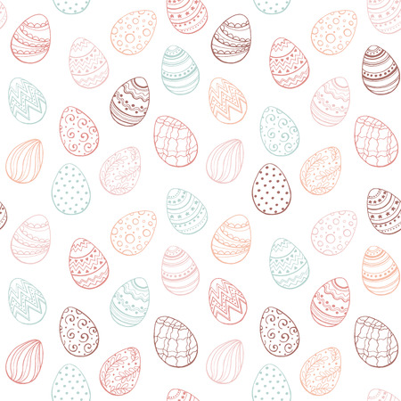 Easter background with eggs hand drawn black on white background. Decorative Esater eggs seamless pattern in red and gold colors. Easter eggs with ornaments in vintage style. Illustration