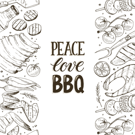 BBQ and grill vertical banner with sketch objects isolated on white background. Hand drawn barbecue elements around decorative text. Grill menu design template.