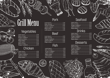 BBQ and grill menu with sketch objects on blackboard. Hand drawn barbecue elements around text. Grill menu design template. Illustration