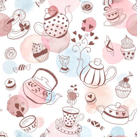 Patrón sin fisuras de la hora del té. Diseño de fondo de la fiesta del té. Dibujado a mano ilustración de doodle con teteras, tazas y dulces. Textura de vector de acuarela. Ilustración de vector