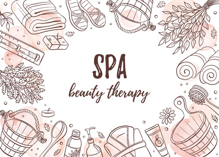 Spa beauty therapy banner. Sauna accessories sketches in horizontal  frame composition. Poster with hand drawn spa items. Doodle treatment objects isolated on white background.