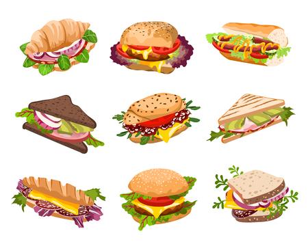 Colección de bocadillos saludables aislado sobre fondo blanco. Ilustración de vector. Conjunto de panini fresco con carne, chease y verduras de diferentes tipos de pan.